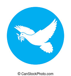 Dove of peace - Flat icon of white dove with olive twig in...