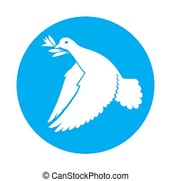 Dove of peace - Flat icon of dove of peace with olive branch...