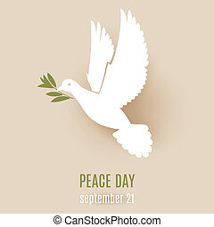Dove of peace - Peace day design with flying white dove with...