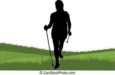 Vector silhouette of women with Nordic walking