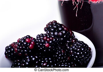 blackberry - fresh healthy blackberry jam in preserving...