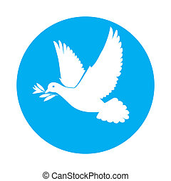 Dove of peace - Flat icon of white dove with olive branch in...