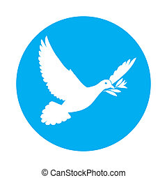 Dove of peace - Flat icon of white dove of peace with olive...