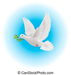 Dove of peace - White dove flying with green twig in its...