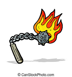 flaming mace weapon cartoon