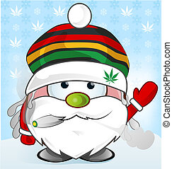 jamaican Santa Claus cartoon on background