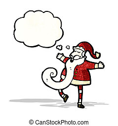 cartoon santa with thought bubble