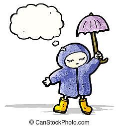 cartoon girl in rain coat