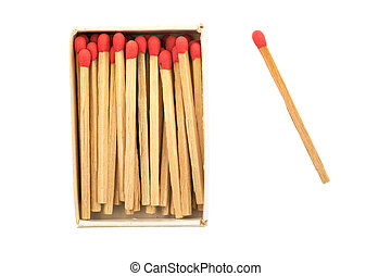 matches in a box with a single one one the side isolated on...