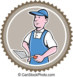 Bricklayer Mason Plasterer Rosette Cartoon - Illustration of...