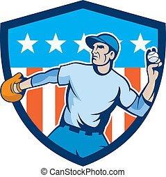 Baseball Pitcher Throwing Ball Shield Cartoon