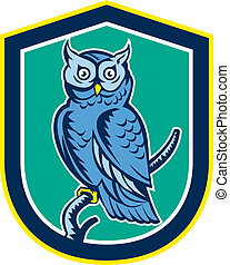 Great Horned Owl on Branch Shield Retro - Illustration of a...