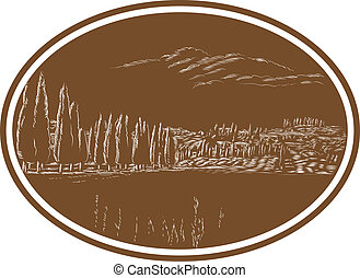 Tuscan Landscape Italy Woodcut - Illustration of Tuscan...