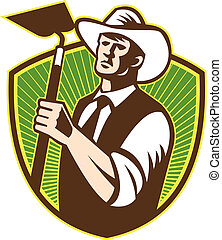Organic Farmer Holding Grab Hoe Shield - Illustration of...