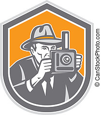 Photographer Vintage Camera Shield Retro - Illustration of a...