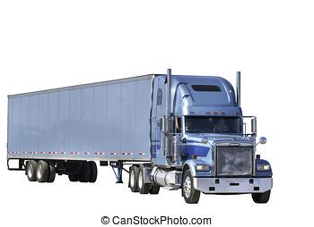 mulher, caminhão, motorista, em movimento, reboque