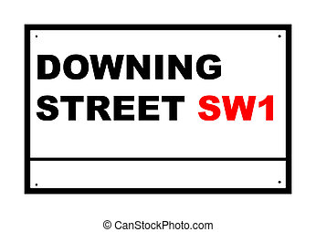 Downing street road sign isolated over white background,...
