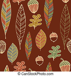 Vintage abstract autumn seamless leaves pattern - Vintage...