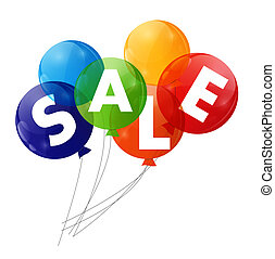 Color Glossy Balloons Sale Concept of Discount Vector...