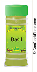 Basil - A 'Basil' herb and spice jar isolated on a white...