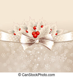 Vector christmas background with bow and holly - Vector...