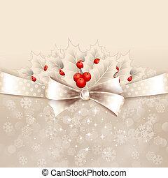 vettore, Natale, fondo, arco, agrifoglio