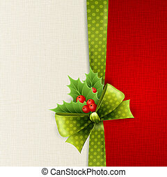 Christmas card with green polka dots bow and holly - Vector...