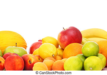 Fruits over white background