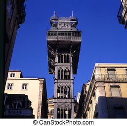 Santa Justa Elevator in Lisbon, Portugal Connecting downtown...