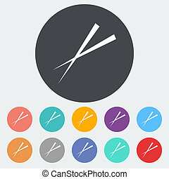 Chopsticks. Single flat icon on the circle. Vector...