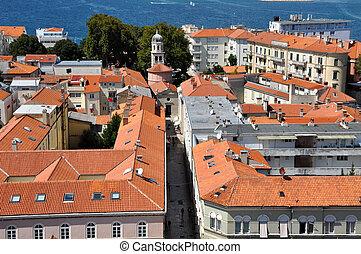 Croácia, vista, aéreo, cidade,  zadar