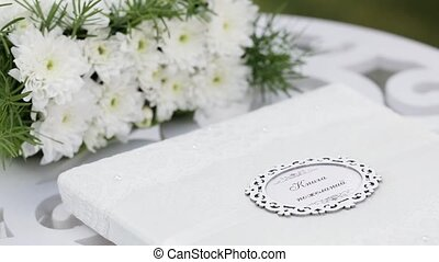 Wedding guest book - Wedding book of wishes and flowers