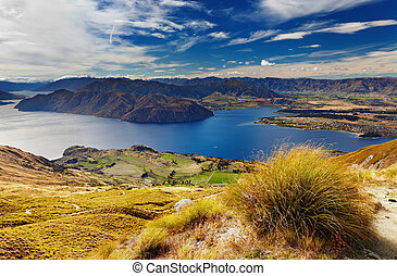 Lake Wanaka, New Zealand - Lake Wanaka, view from mount...