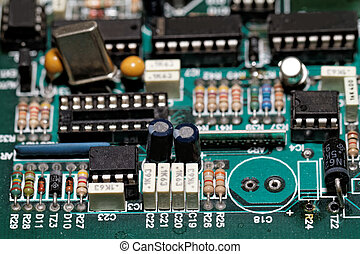 Electronic components - Close up photo of various electronic...