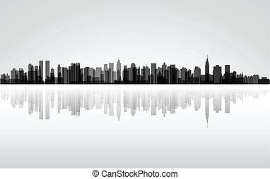 New York City panorama, vector