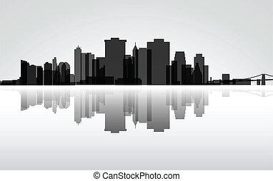 New York-Manhattan panorama, vector