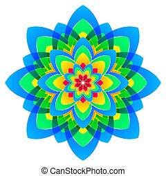 mandala flower, rainbow colors in circles - abstract rainbow...