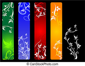 Vertical banners with flowers
