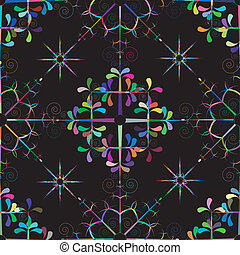 snow kaleidescope - seamless pattern of colorful snowflakes.