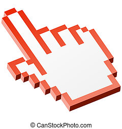 3D Pixel graphic hand - forefinger red
