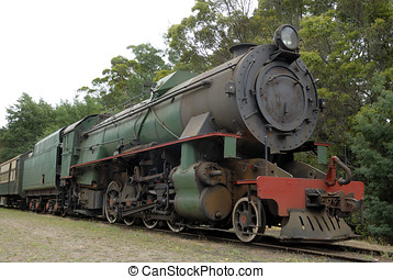 Old steam train at a railway station in Australia