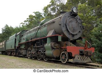 Tåg, gammal, ånga