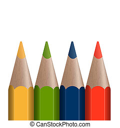 4 colored pencils in a row