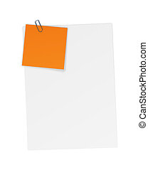 Sheets of paper with attached Notes