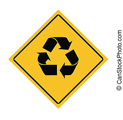 Recycling road sign - Recycling symbol on road sign,...
