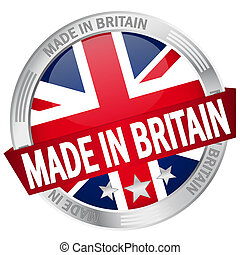 Button with banner Made in Britain