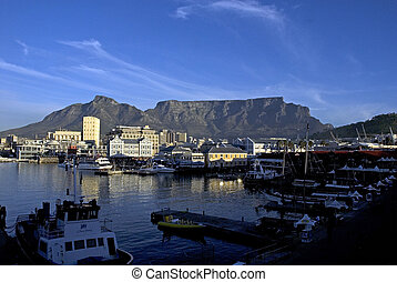 Waterfront Cape Toen - The sun sets over the mountain with...