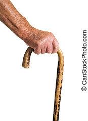 Man holding walking stick - Man holMan wooden walking stick