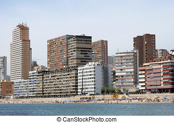 Mediterranean beach in Benidorm, Spain - benidorm coastline...