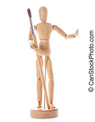 Art concept, wooden figure for modeling poses of human and...